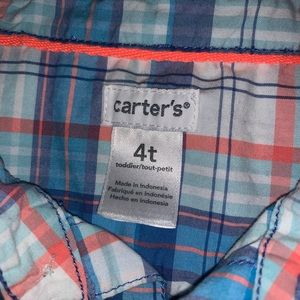4t carter brand plaid pink and blue button up